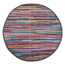 """DII Contemporary Reversible Indoor Area Rag Rug, Machine Washable, Handmade from Recycled Fabrics, Unique For Bedroom, Living Room, Kitchen, Nursery and more, 36"""" Round - Multi Colored"""