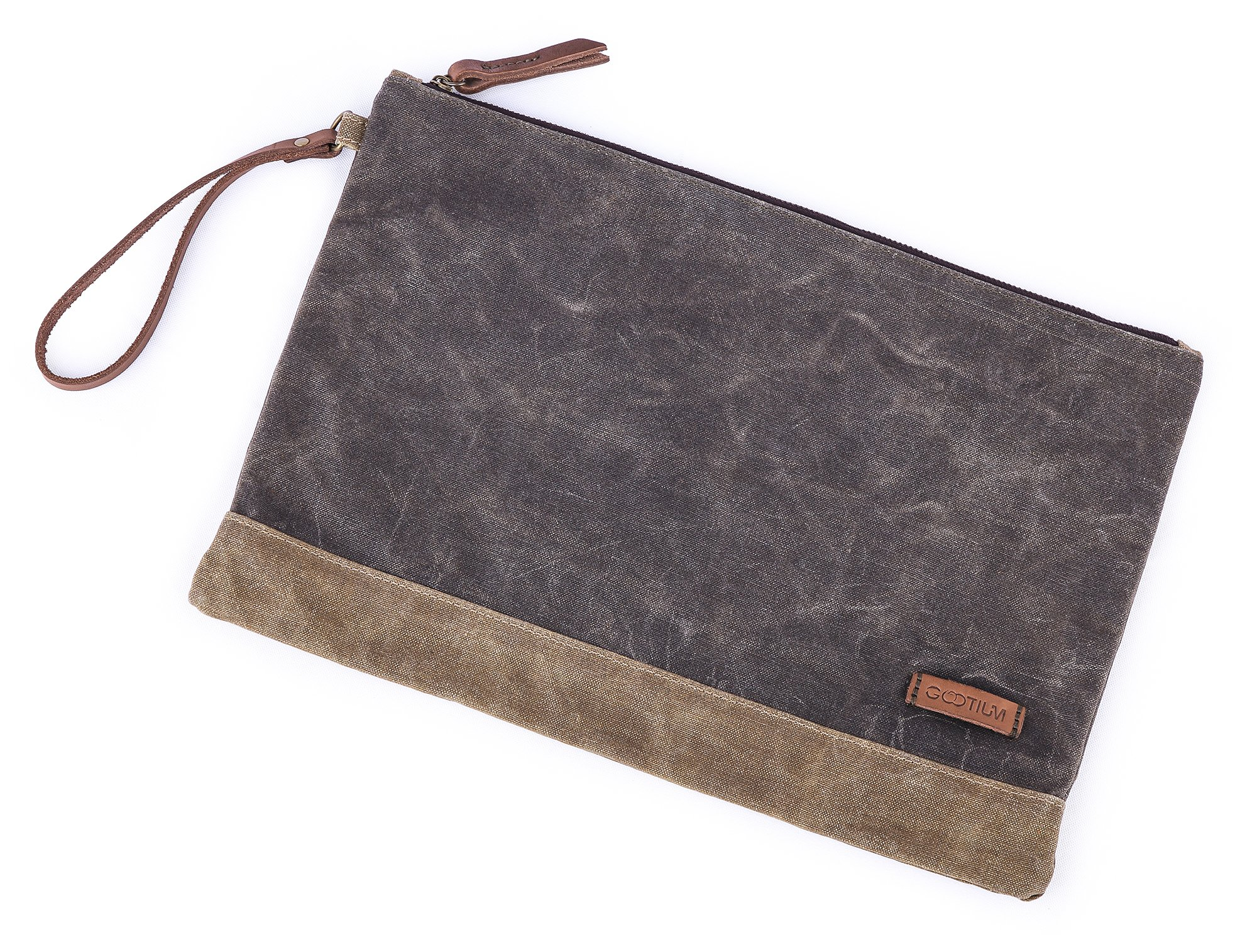 """Gootium Waxed Canvas Zipper Bag - Water Resistant Multipurpose File Pouch for Artists and Office, 13""""x9.4"""", A4 Size, Green"""