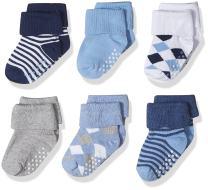 Jefferies Socks Baby Boys' Toddler Non-Skid Argyle/Stripe Turn Cuff Socks 6 Pair Pack