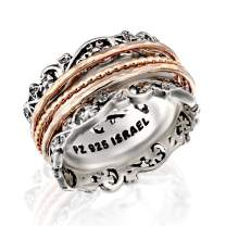PZ Paz Creations .925 Sterling Silver and Rose Gold Over Silver Spinner Ring