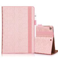 WWW iPad 9.7 2018/2017, iPad Air 2, iPad Air Case, [Luxury Laser Flower] Premium PU Leather Case Protective Cover with Auto Wake/Sleep for Apple iPad 9.7 2017/2018 and iPad Air 2/1 Pink