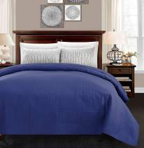 """ALPHA HOME Quilted Bed Quilt Queen Size 86"""" 86""""Polyester Lightweight Checked Bedspread Quilt Machine Washable One Piece Duvet Cover Reversible Cozy Coverlets for All Seasons,Navy Blue"""