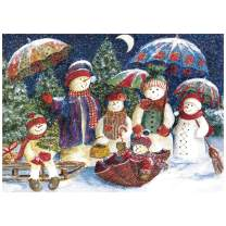 Amazqi Jigsaw Puzzles 1000 Pieces for Adult, Snowman Family, Hard Difficult Jigsaw Puzzles Set, Best Jigsaw Puzzles Game (30x20 inch)