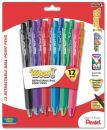 Pentel WOW! Retractable BallPoint Pens, Medium Line, Assorted Colors, Pack of 12 (BK440CRBP12M)