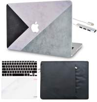 LuvCase 5in1 LaptopCase for Mac Air 13 Inch (Touch ID)(2018-2020) A1932 Retina Displayy HardShellCover, Sleeve, USB Hub 3.0, Keyboard Cover&Screen Protector (Black White Grey)