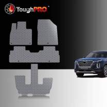 ToughPRO Floor Mats Set + 3rd Row Compatible with Hyundai Palisade - All Weather - Heavy Duty - (Made in USA) - Gray Rubber - 2020