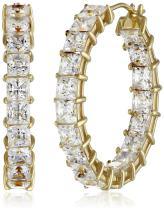 Platinum or Gold-Plated Sterling Silver Princess-Cut Swarovski Zirconia Hoop Earrings