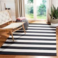 "Safavieh Montauk Collection MTK712D Handmade Flatweave Black and Ivory Cotton Area Rug (2'6"" x 4')"