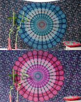 Bohemian Gold Mandala Tapestries Hippie Boho Wall Hanging Throw Home Decor 55X85