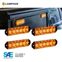 4pc PlanarFlash 6W Amber LED Flashing Strobe Light Head [Ultra Flat] [SAE Class 1] [72 Flash Mode] [Multi Units Sync-able] [Surface-Mount] Yellow Amber Emergency Grille Police Light for Truck Vehicle
