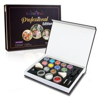 Professional Face Painting Kit with Resealable Jars for Parties (12 Color +100 Faces) Stylish Storage Box w/ Magnetic Lid - Pink, Brown, Magenta - Gold & Silver Glitter, Brushes & Sponges - 100% Safe