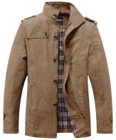 Wantdo Men's Cotton Jacket Classic Military Durable Stand Collar Chore Coat