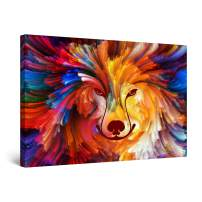 "Startonight Canvas Wall Art Abstract - Colored Dog | Wolf Painting - Large Artwork Print for Living Room 32"" x 48"""
