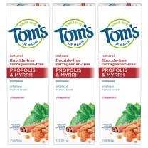 Tom's of Maine Fluoride-Free Propolis & Myrrh Toothpaste, Natural Toothpaste, Fluoride Free Toothpaste, Cinnamint, 5.5 Ounce, 3-Pack