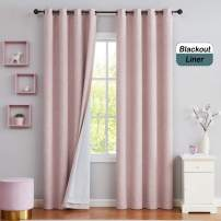 """Central Park Solid 90% Blackout Room Darkening Window Curtains for Bedroom Noise Reducing Drapes Heavy Linen Texture 8 Grommets Top Gradient for Living Room, Pink 50"""" x 108"""", 1 Piece"""
