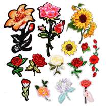 YLY Iron On Patches,Flowers Patches Rose Patches Fashion Embroidered Applique Kit Assorted Size Decoration Sew On Patches for Clothing,Jackets, Backpacks,Jeans (Flowers-14Pcs)