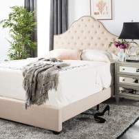 Safavieh Home Beckham Contemporary Beige Linen Bed, Full