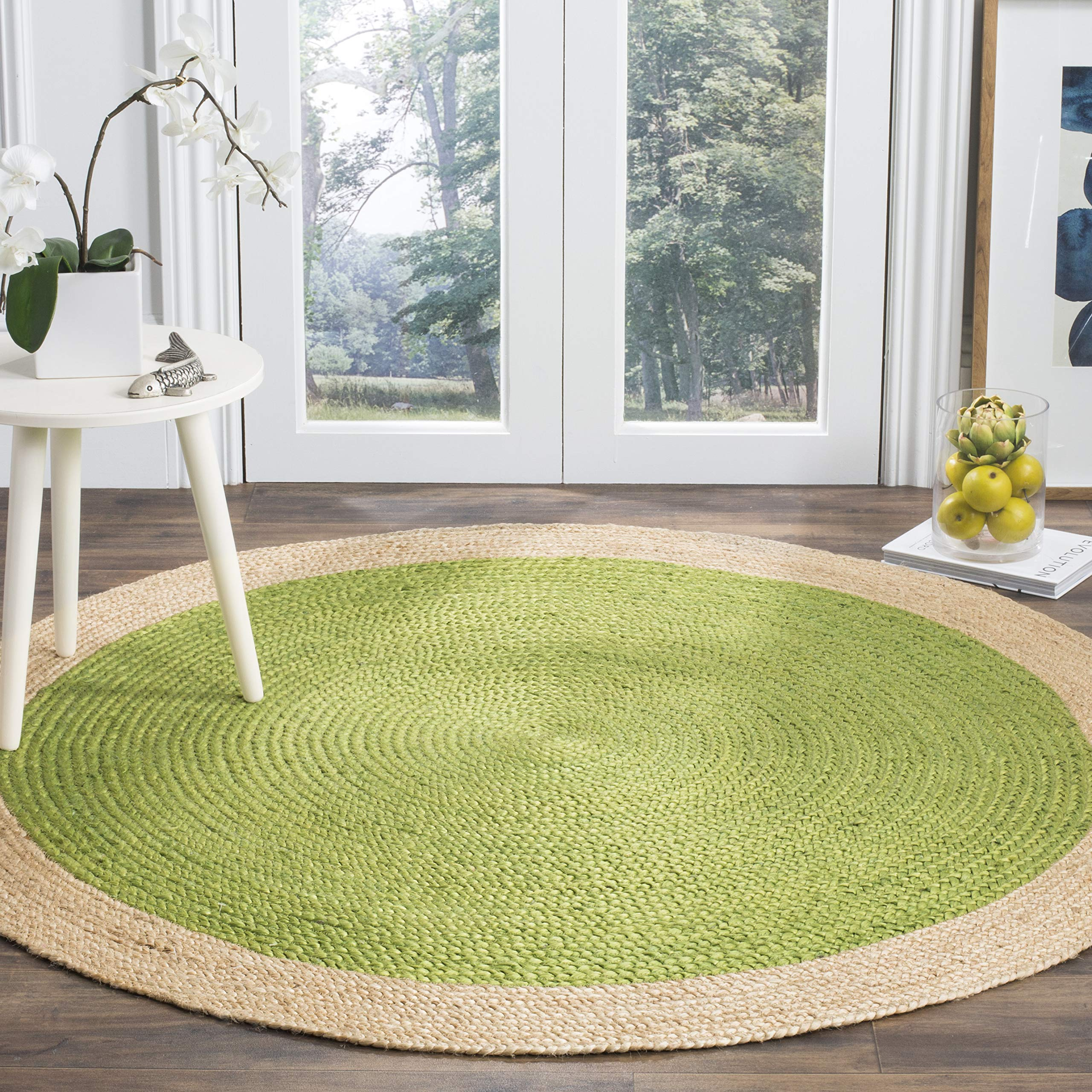 Safavieh Natural Fiber Collection NF801G Hand-Woven Green and Natural Jute Round Area Rug (4' in Diameter)