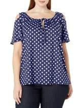 Star Vixen Women's Plus-Size Short Sleeve Cold-Shoulder Peasant, Navy dot, 1X