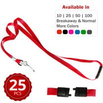 Durably Woven Lanyards with Safety Breakaway ~Premium Quality, Smoothly Finished for Skin-Friendly Comfort~ for Moms, Teachers, Tours, Events, Cruises & More (25 Pack, red) by Stationery King