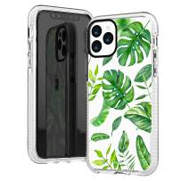 iPhone 11 Pro Case Clear,Aloha Summer Big Green Bahama Leaves Tropical Palm Tree Beach Hawaii Trendy Cute Hipster Girls Women Spring Soft Protective Clear Design Case Compatible for iPhone 11 Pro