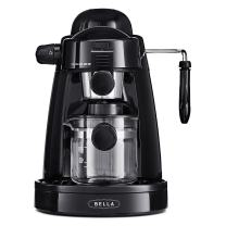 BELLA (13683) Personal Espresso Maker with Steam Wand, Glass Decanter & Permanent Filter, Black