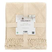 Whisper Organics Organic Cotton Throw Blanket G.O.T.S. Certified, Hypoallergenic (Full/Queen, Natural)