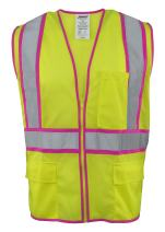 """Ironwear 1284-LZ-PT-6-3XL ANSI Class 2 Polyester Mesh SAFETY Vest with Zipper & 2"""" Silver Reflective Tape w/Pink Trim, Lime, 3X-Large"""