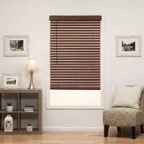 DEZ Furnishings QJBK250720 2 in. Cordless Faux Wood Blind, 25W x 72L Inches, Dark Oak