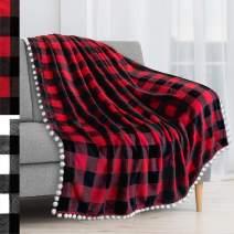 PAVILIA Fleece Throw Blanket with Pom Pom Fringe   Buffalo Plaid Checkered Red, Black Flannel Throw   Super Soft Lightweight Microfiber Polyester   Plush, Fuzzy, Cozy   50 x 60 Inches