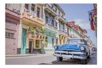 Havana, Cuba - Blue Vintage Classic American Car in a Colorful Street 9031165 (Premium 1000 Piece Jigsaw Puzzle for Adults, 20x30, Made in USA!)