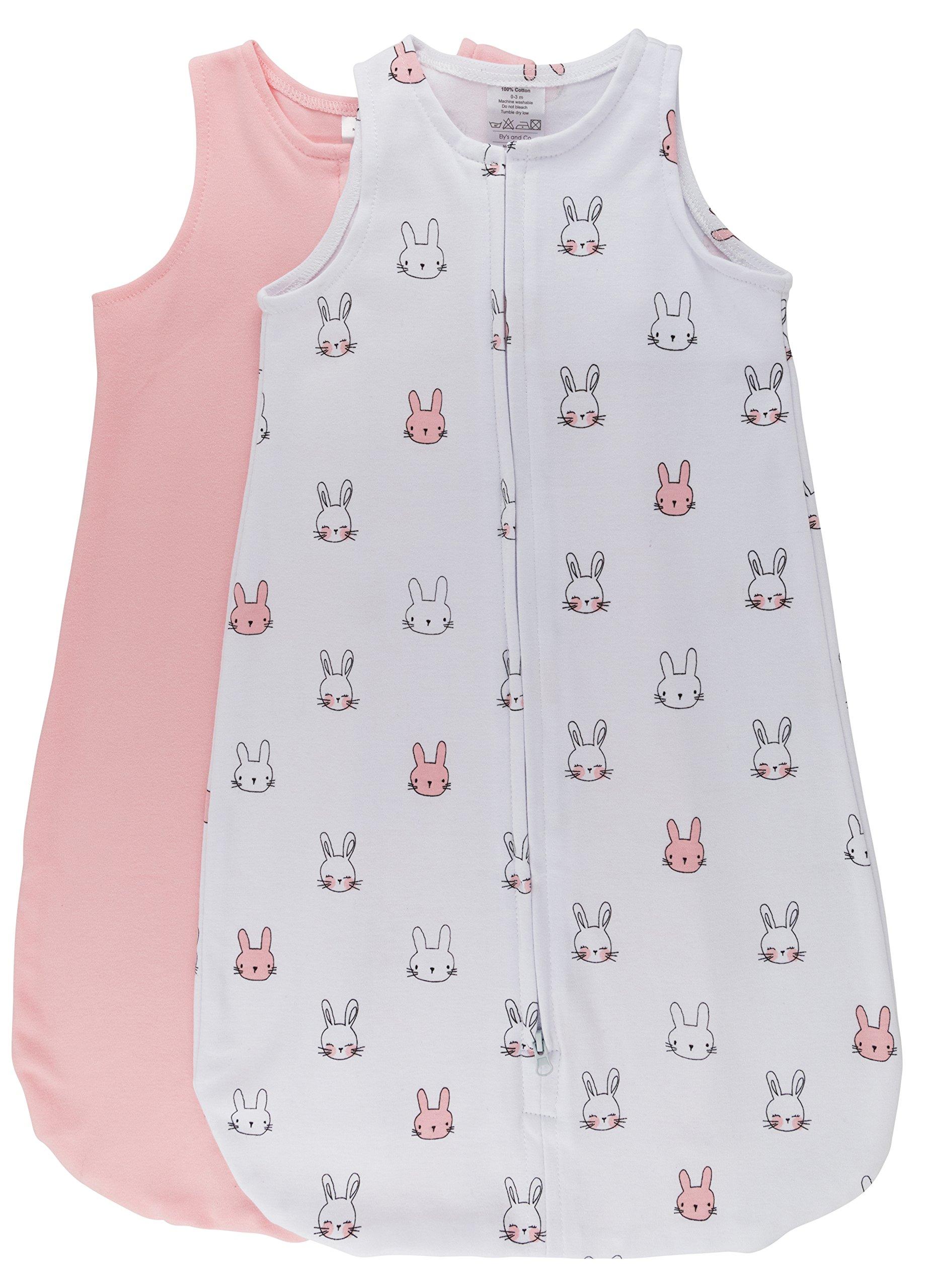 100% Cotton Wearable Blanket Baby Sleep Bag Pink Bunnies 2 Pack (0-3 Months)