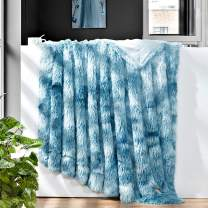 "GONAAP Faux Fur Throw Blanket Decorative Super Soft Fuzzy Shaggy Luxurious Cozy Plush Fluffy Long Hair Comfy Microfiber Fleece Reversible for Coach Bed Chair Sofa (Tie-dye Ocean Blue 50""X60"")"