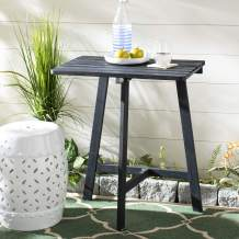 Safavieh PAT6755B Outdoor Collection Benton Grey Balcony Accent Table, Dark Slate Gray