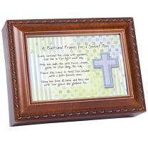 Cottage Garden Baptismal Prayer Lead Him Woodgrain Rope Trim Jewelry Music Box Plays Jesus Loves Me