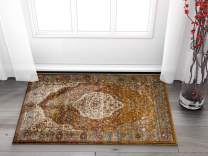 "Well Woven Evoke Modern Vintage Medallion Mocha Light Brown Dusty Blue 2x4 (2'3"" x 3'11"") Area Rug"