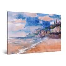 "Startonight Canvas Wall Art Watercolor Amalfi Coast Italy, Framed 32"" x 48"""