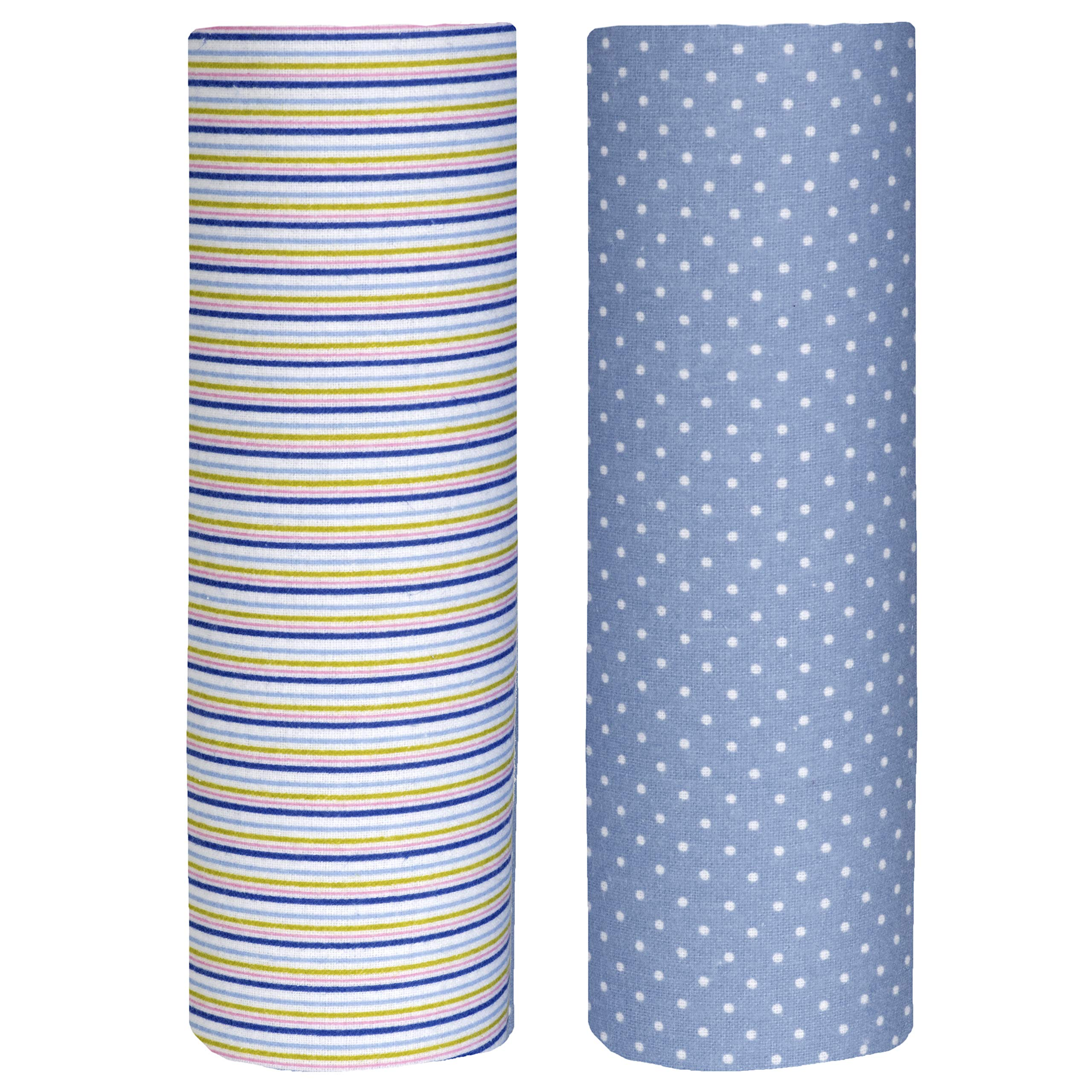 Cuddles & Cribs Cotton Flannel Baby Receiving Blankets - 2 Count (Blue Stripe & Spots, One Size)