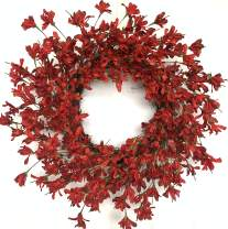 Huashen Summer Blossom Cluster Wreath,Red& Burgundy Forsythia Flower Front Door Farmhouse Wreath on Grapevine for Wall Window 24inch