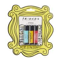 Friends TV Show Lip Balm Trio - Set of Three Flavoured Lip Balms, Strawberry, Vanilla, Cherry