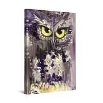 "Startonight Canvas Wall Art Purple Owl Bird Painting, Framed 24"" x 36"""