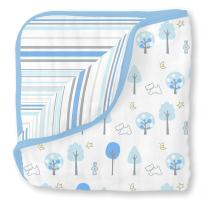 SwaddleDesigns 4-Layer Cotton Muslin Luxe Blanket, Cuddle and Dream, Blue Forest and Stripes
