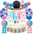 Gender Reveal Party Supplies (120 PCS) by Serene Selection, Baby Shower Decorations Kit, Confetti Pink Blue Balloons, Boy or Girl Banner, Cup Cake Toppers, Photo Booth Props, Tassels Set Pom Pom