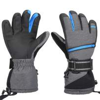 Waterproof Ski Gloves, Winter Warm Cozy 3M Thinsulate Snow Gloves for Skiing, Snowboarding, Shoveling, Cycling, Outdoor Sports, Gifts for Men,Women