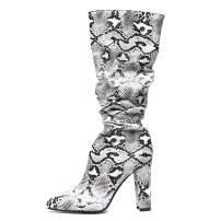 Shoe'N Tale Women's Chunky Heel Snakeskin Pointed Toe Side Zip Mid Calf Slouch Boots
