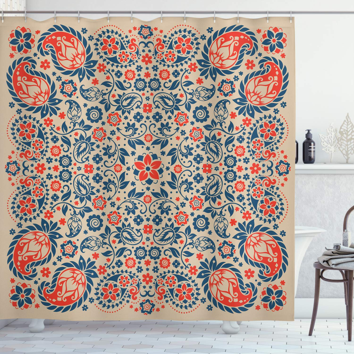 """Ambesonne Paisley Shower Curtain, Floral Ornate Pattern Cultural Folk Persian Middle Eastern, Cloth Fabric Bathroom Decor Set with Hooks, 75"""" Long, Night Blue"""