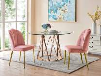 Iconic Home Chelsea Dining Side Chair Vertical Channel Quilted Velvet Upholstered Crown Top Back and Seat Solid Gold Tone Metal Legs (Set of 2) Modern Contemporary, Blush