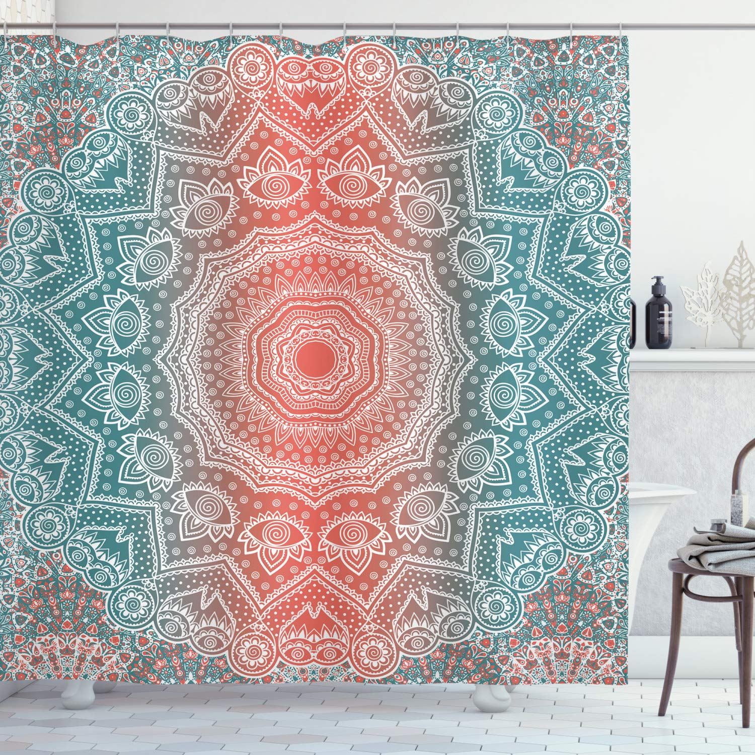 """Ambesonne Coral and Teal Shower Curtain, Modern Tribal Mandala Tibetan Healing Motif with Floral Geometric Ombre Art, Cloth Fabric Bathroom Decor Set with Hooks, 70"""" Long, Coral Teal"""