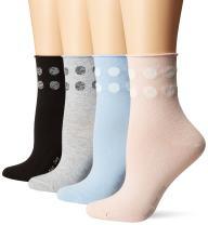 HUE Women's Roll Top Shortie Sock 4 Pack