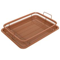 Multi-Purpose Crisper Basket & Tray for Oven, Stovetop, Grill, Works as Air Fryer and Griddle, Excellent for Frozen Foods, Copper Colored, by California Home Goods